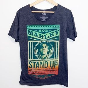 Bob Marley Stand Up gray Graphic T-shirt Small